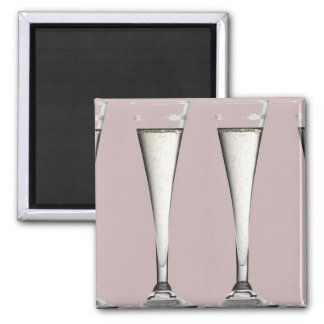 Pink and White Champagne Glass Flutes Square Magnet