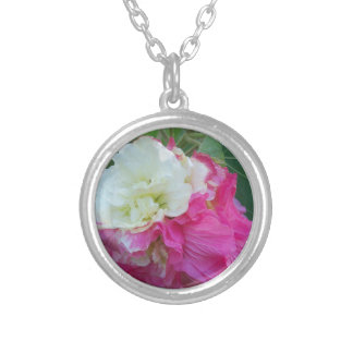 pink and white changeable hibiscus bloom silver plated necklace