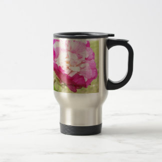 pink and white changeable hibiscus bloom travel mug