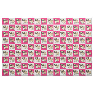 Pink and White Checked Pug Fabric