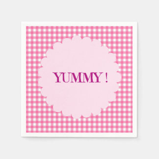 Pink and White Checkered Yummy Disposable Serviettes