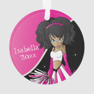 Pink and White Cheerleader Girl Ornament
