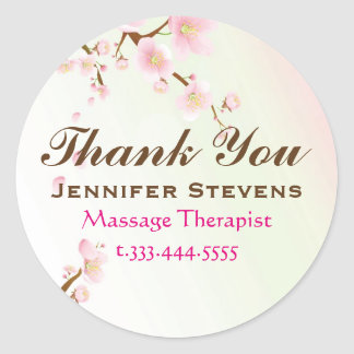 Pink And White Cherry Blossom Natural Spa Round Stickers