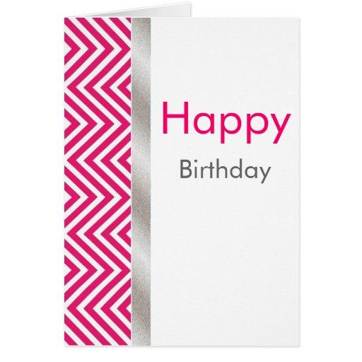 Pink and White Chevron Birthday Card