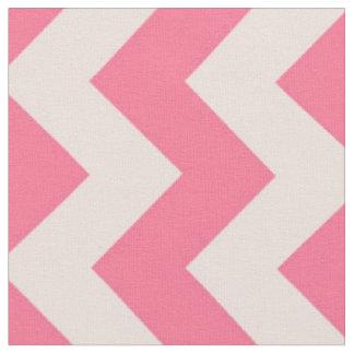 Pink and White Chevron Stripe Fabric