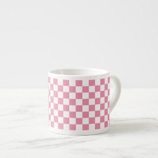 Pink And White Classic Retro Checkered Pattern Espresso Cup