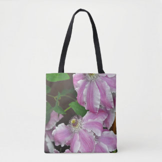 Pink and white clematis flowers tote bag