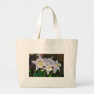 Pink and white columbine flowers large tote bag