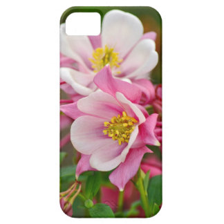 Pink and white columbine flowers print iPhone 5 cases