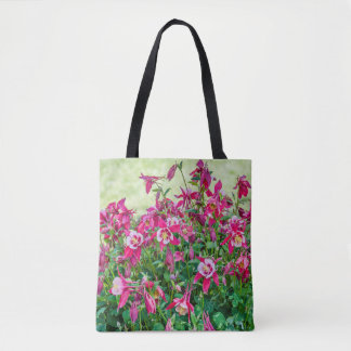 Pink and White Columbinewith a Green Background Tote Bag