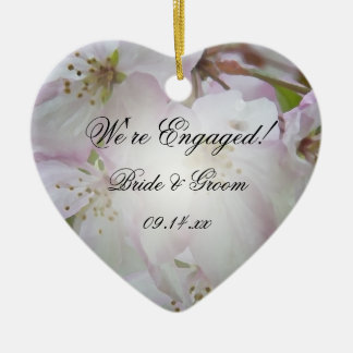 Pink and White Crab Apple Blossoms Engagement Ceramic Ornament