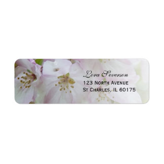 Pink and White Crab Apple Blossoms Return Address Return Address Label