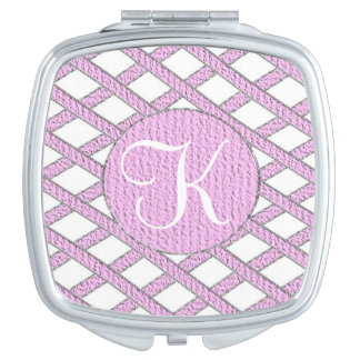 Pink and white crisscross monogram compact mirror