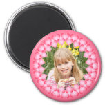 Pink and white cute hearts template 6 cm round magnet