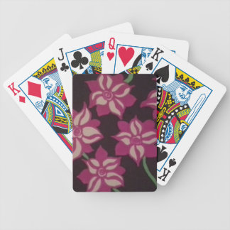 Pink and White Dahlia Pattern Bicycle Playing Cards
