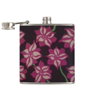 Pink and White Dahlia Pattern Hip Flask