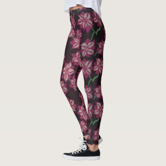 Pink and White Dahlia Pattern Leggings
