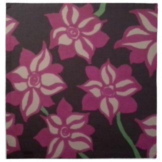 Pink and White Dahlia Pattern Napkin