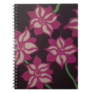 Pink and White Dahlia Pattern Notebooks