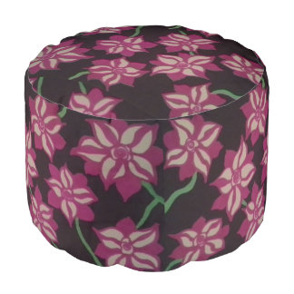 Pink and White Dahlia Pattern Pouf