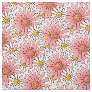 Pink and White Daisies Pattern Fabric