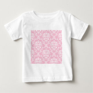 Pink and White Damask Baby T-Shirt