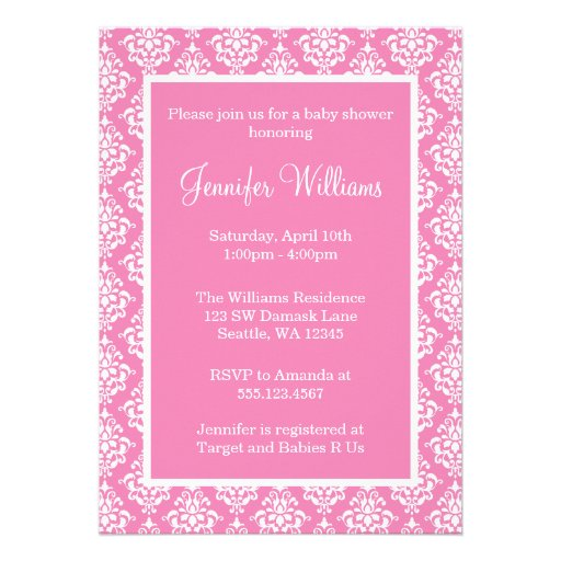 Pink and White Damask Girl Baby Shower Personalized Invites