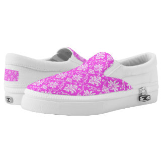 Pink and White Damask Printed Shoes