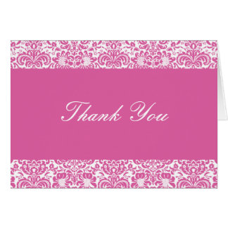 Pink and White Damask Thank You Note Card
