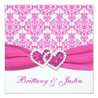 Pink and White Damask Wedding Invitation