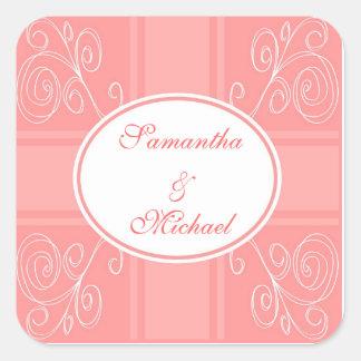 Pink and white design square sticker