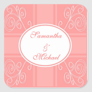 Pink and white design square stickers
