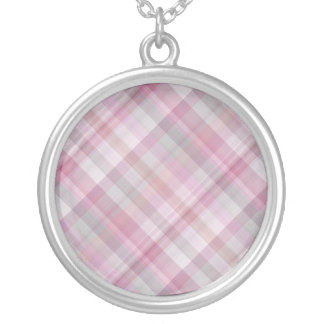 Pink and White Diagonal Plaid Pattern Silver Plated Necklace