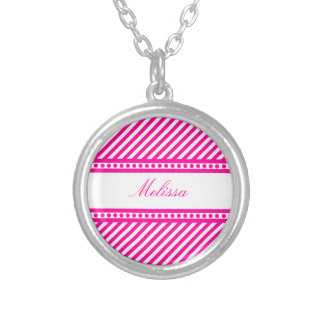 Pink and White Diagonal Stripes Round Pendant Necklace
