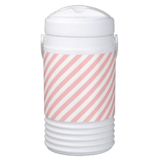 Pink and White Diagonal Stripes Pattern Cooler