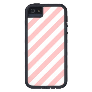 Pink and White Diagonal Stripes Pattern iPhone 5 Covers