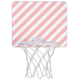 Pink and White Diagonal Stripes Pattern Mini Basketball Hoop