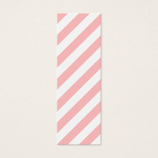 Pink and White Diagonal Stripes Pattern Mini Business Card