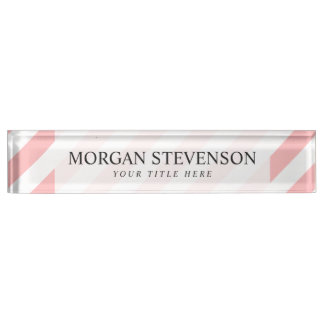 Pink and White Diagonal Stripes Pattern Nameplate