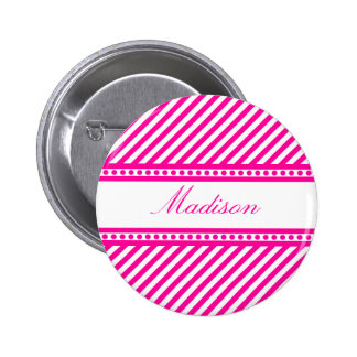 Pink and White Diagonal Stripes Pinback Buttons