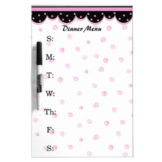 Pink and White Dinner Menu Dry Erase Board