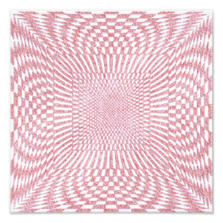 Pink and White Distorted Checkered Pattern Photo Art