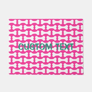 Pink and white dog bones custom doormat