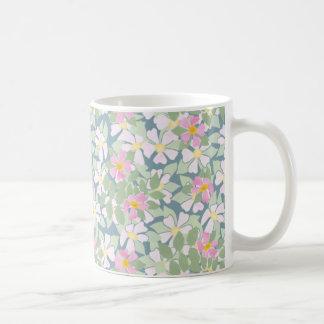 Pink and White Dog Roses on Deep Blue Coffee Mug