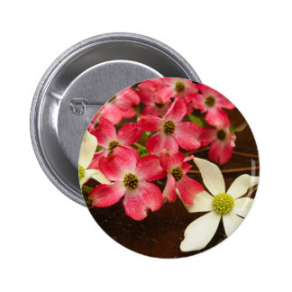 Pink And White Dogwood Flowers Pinback Buttons