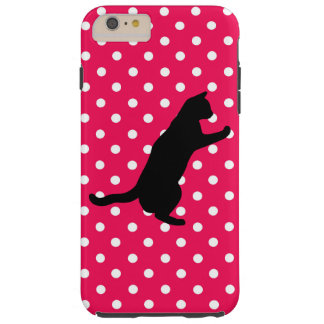 Pink and White Dots and Cat Silhouette Iphone Case Tough iPhone 6 Plus Case