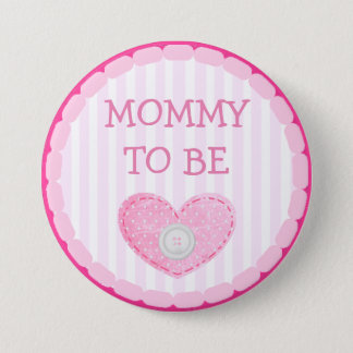 Pink and White Dots & button  Mom To Be Button