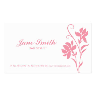 Pink and White Elegant Modern Flower Floral Pack Of Standard Business Cards