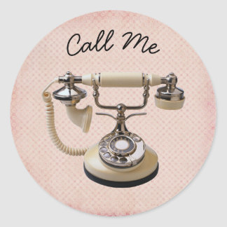 Pink and White Euro Phone Call Me Classic Round Sticker