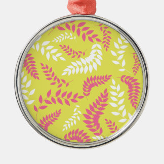 Pink and White Ferns Foliage on Green Silver-Colored Round Decoration
